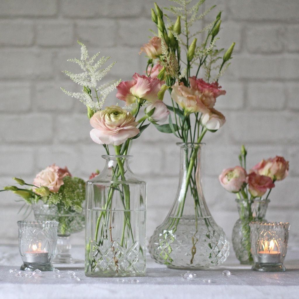 Pressed glass decanter wedding centrepiece vase florals