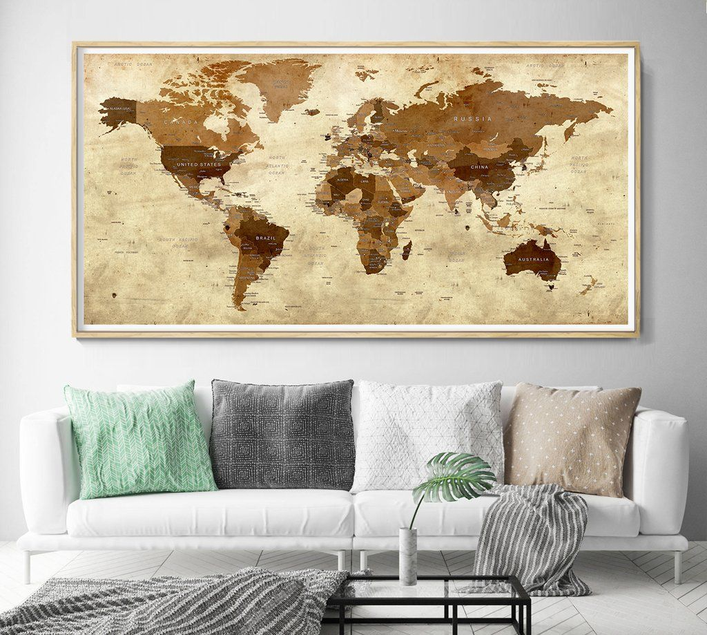 Detailed world map wall art with countries names poster print large ...