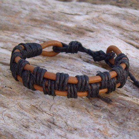 Tan Leather and Black Hemp Bracelet    followpics.co