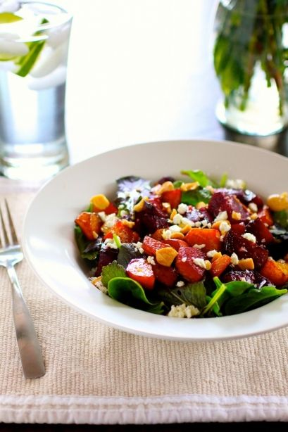 Maple balsamic roasted beet salad with toasted almonds and ...