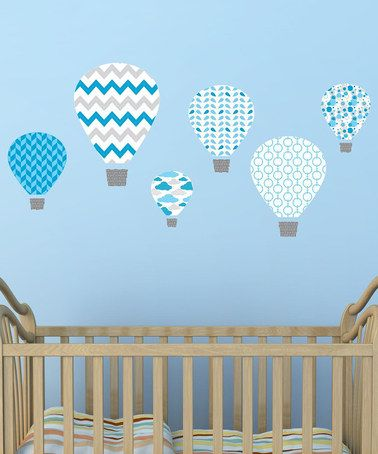 Blue Hot-Air Balloon Wall Decal Set #zulily #zulilyfinds