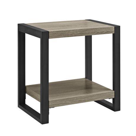 Manor Park We Furniture Walker Edison Wood Metal Driftwood End Side Table Driftwood Wood End Tables Metal Side Table
