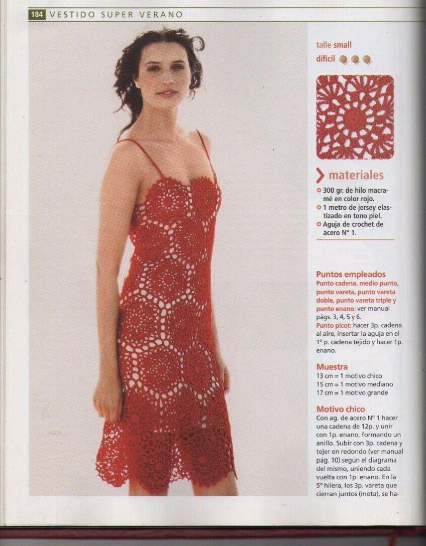 patron vestido crochet | patrones | Pinterest | Vestidos rojos ...