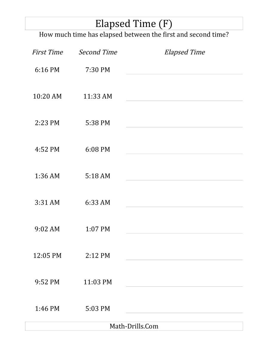 The Elapsed Time Up To 5 Hours In 1 Minute Intervals F Math Worksheet From The Time Worksheets Page At M Time Worksheets Elapsed Time Worksheets Elapsed Time [ 1165 x 900 Pixel ]