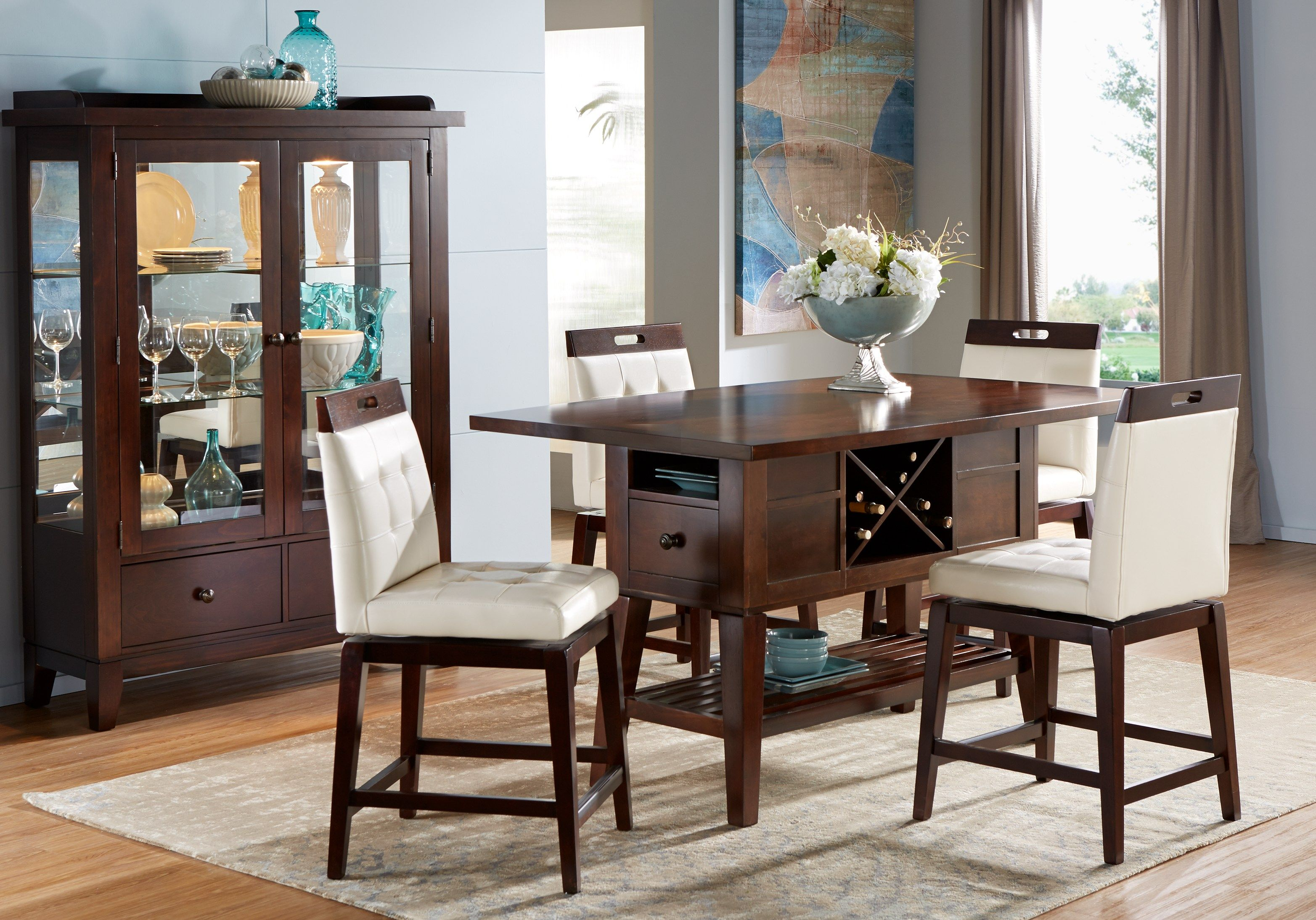 julian place chocolate vanilla 5 pc counter height dining on rooms to go dining room furniture id=89657