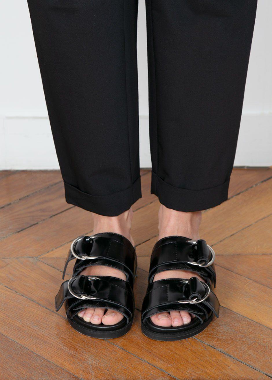 Ganni Black Leather Buckle Slide Sandals The Frankie