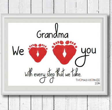 A 60th Birthday Gift For Mom Personalized Grandma We Love You With Every Step Take Footprint Art Print By Perfect Little Prints Etsy