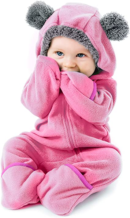 ALLAIBB Baby Fleece Snowsuit Winter Bunting Onesie Cartoon Bear Hooded Romper