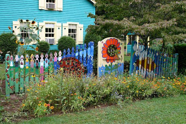 Fanciful fence.   Woodland garden, Backyard garden, Garden