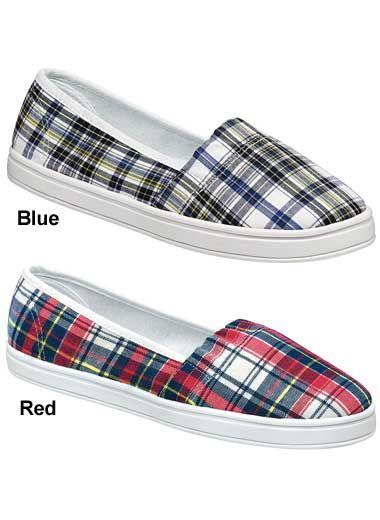 """Plaid"" Canvas Slip-On Shoe | Women's Shoes | CarolWrightGifts.com"