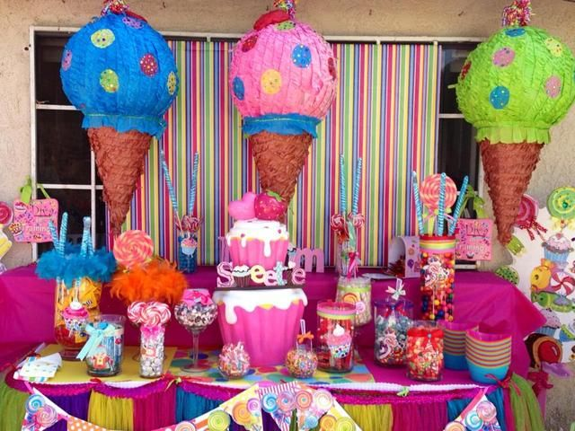 Candy Birthday Party Ideas Photo 1 Of 17 Candy Birthday Party Candy Land Birthday Party Birthday Party Centerpieces