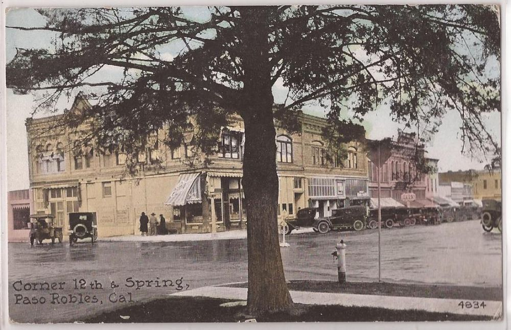 "Paso Robles, Calif. Postcard ""Corner 12th & Springs ..."