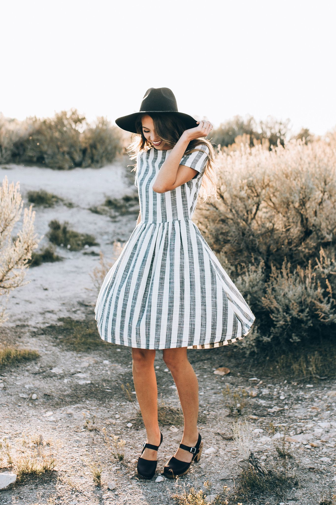 The Striped Linen Party Dress   Linens, Bald hairstyles and Cotton