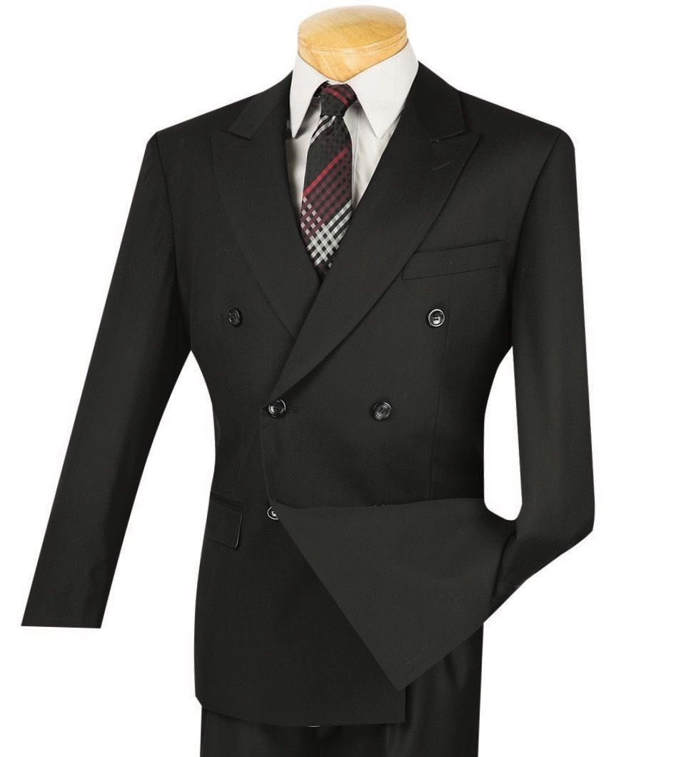 Vinci Men/'s Burgundy Pinstripe Double Breasted 6 Button Classic Fit Suit NEW