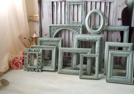 Sea Glass Green Painted Frames, Set of 12 Light Green Vintage Up Cycled Mint Green Frames, Cottage Chic Frame Gallery, French Cottage Decor