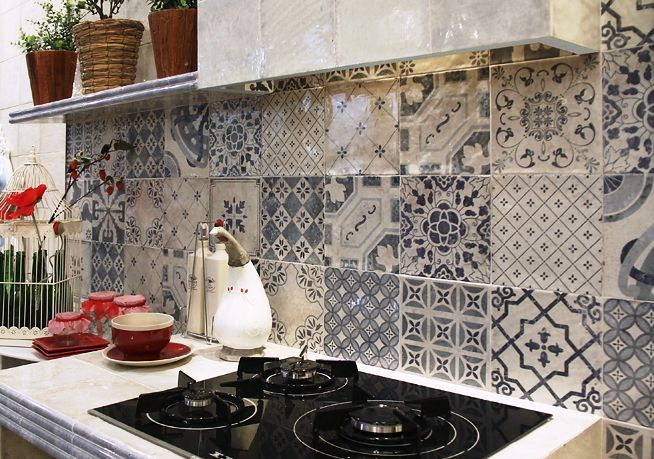 Spanish pattern artisan wall tiles a mix of 14 different for Kitchen feature wall ideas