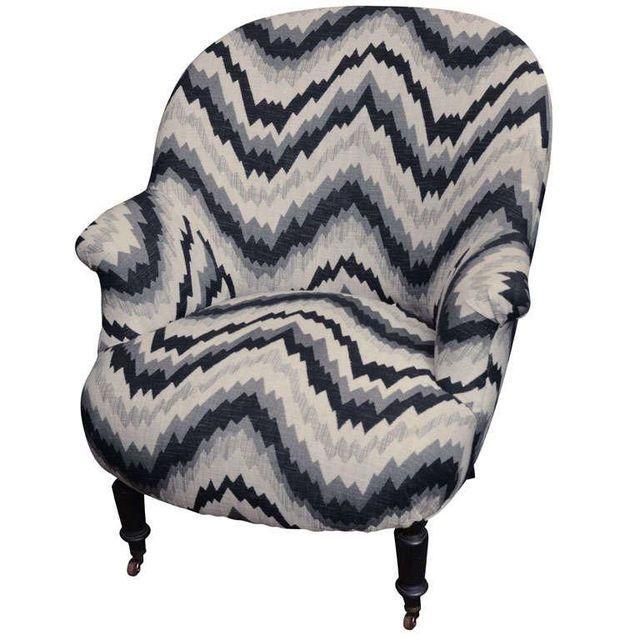 Gray Chevron Napoleon Style Chair