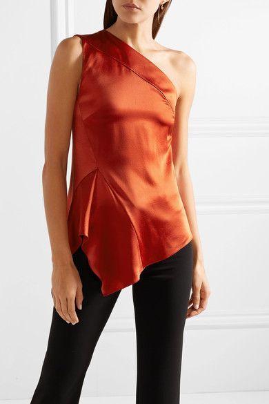 0994ab8c79860 Narciso Rodriguez One-shoulder Draped Silk-charmeuse Top - Brick ...