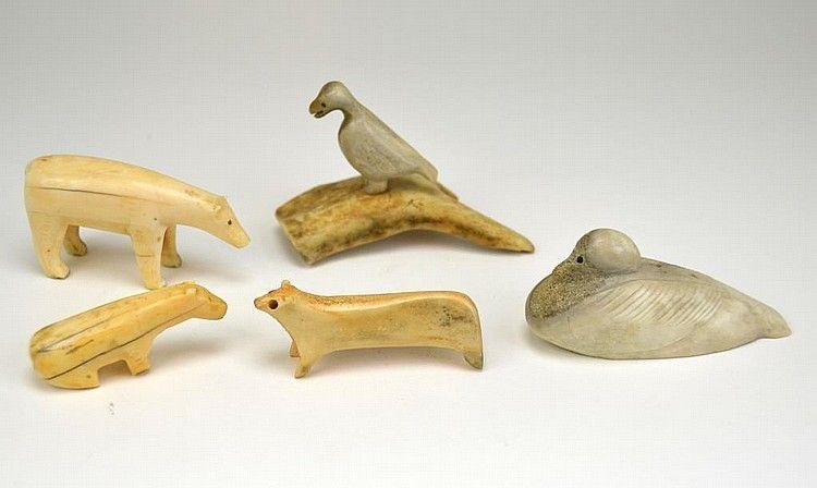 Five Inuit Bone Carving Bone Carving Inuit Carving