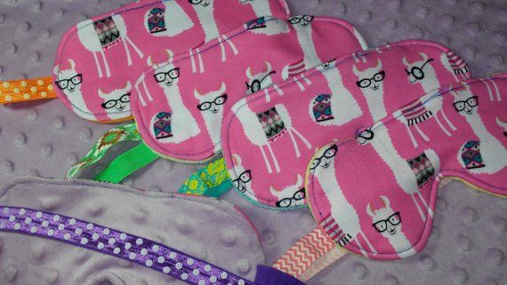 I Love Llama's, Sleep Mask, Llama Eye Mask, Minky Backing