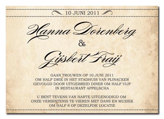 Ticket Voorbeeld Tekst Trouwkaart Wedding Card Reference