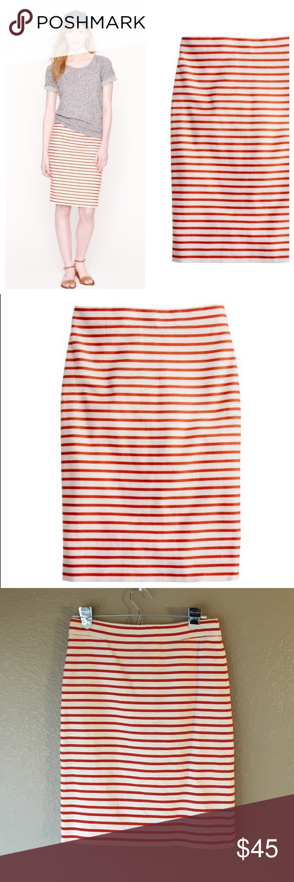 "J. Crew No. 2 Pencil skirt J. Crew No. 2 Pencil skirt in deck stripe. Size 0. Creamy linen with a rusty orange-red stripe. 55% linen, 45% cotton, lining is 97% cotton 3% spandex. Back zipper closure and slit. Excellent condition, worn once. A great staple piece. Approx. Waist 14"" across, hips 16"" across, length 21"". J. Crew Skirts Pencil"