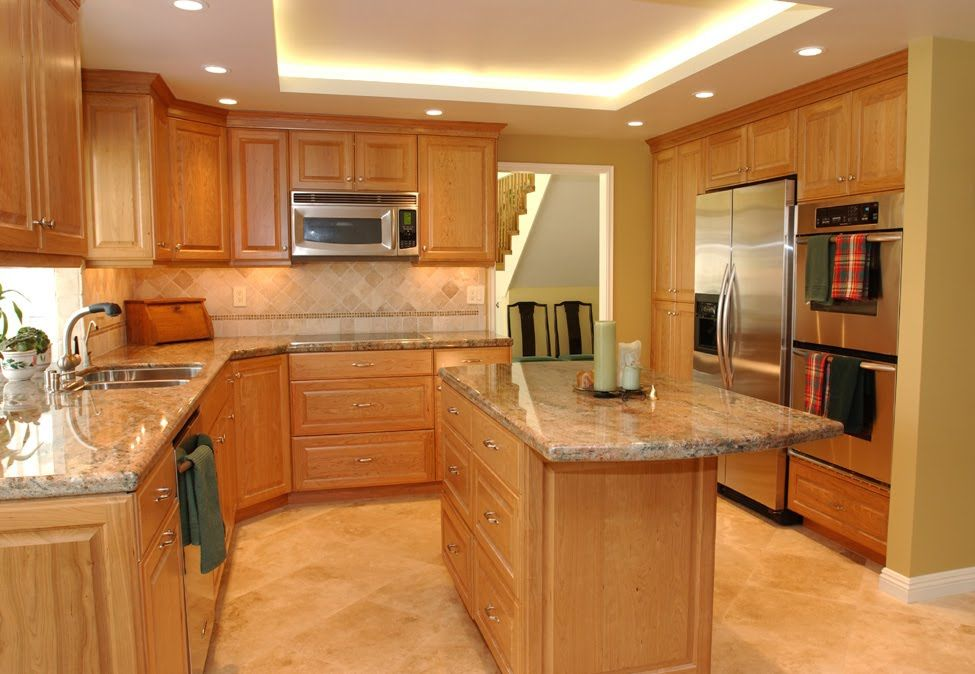 Cherry Kitchen Cabinets Design Ideas With Wood Quartz Countertops Gray Walls Backsplash Black Granite And Light