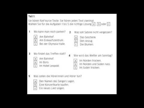German exam A2 Listening part 1 texts from 1 to 3 (new