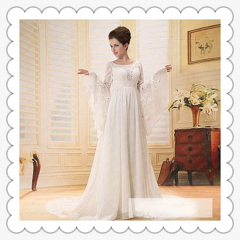 Find More Wedding Dresses Information About Freeshipping ER3254 Latest White Chiffon Long Sleeves Empire Waist