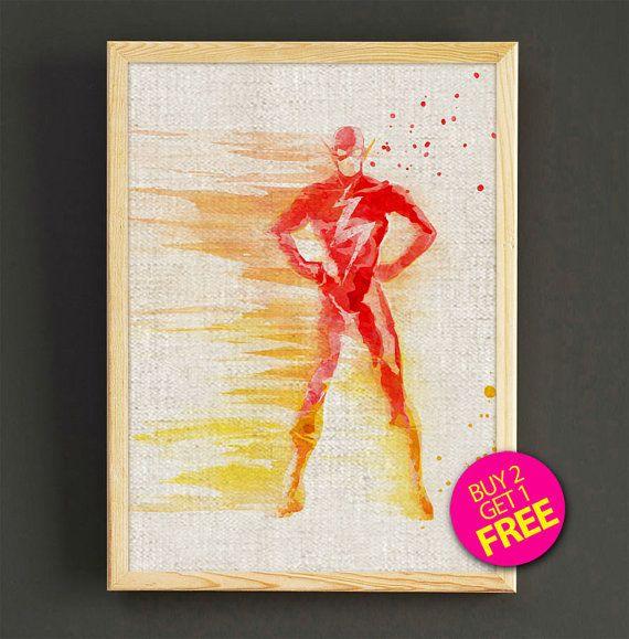 The Flash Watercolor Art Print Justice League Superhero Poster House ...