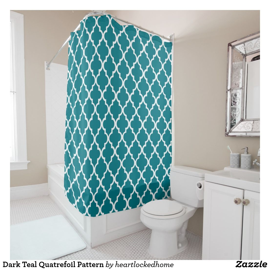 Dark Teal Quatrefoil Pattern Shower Curtain | Bath shower ...