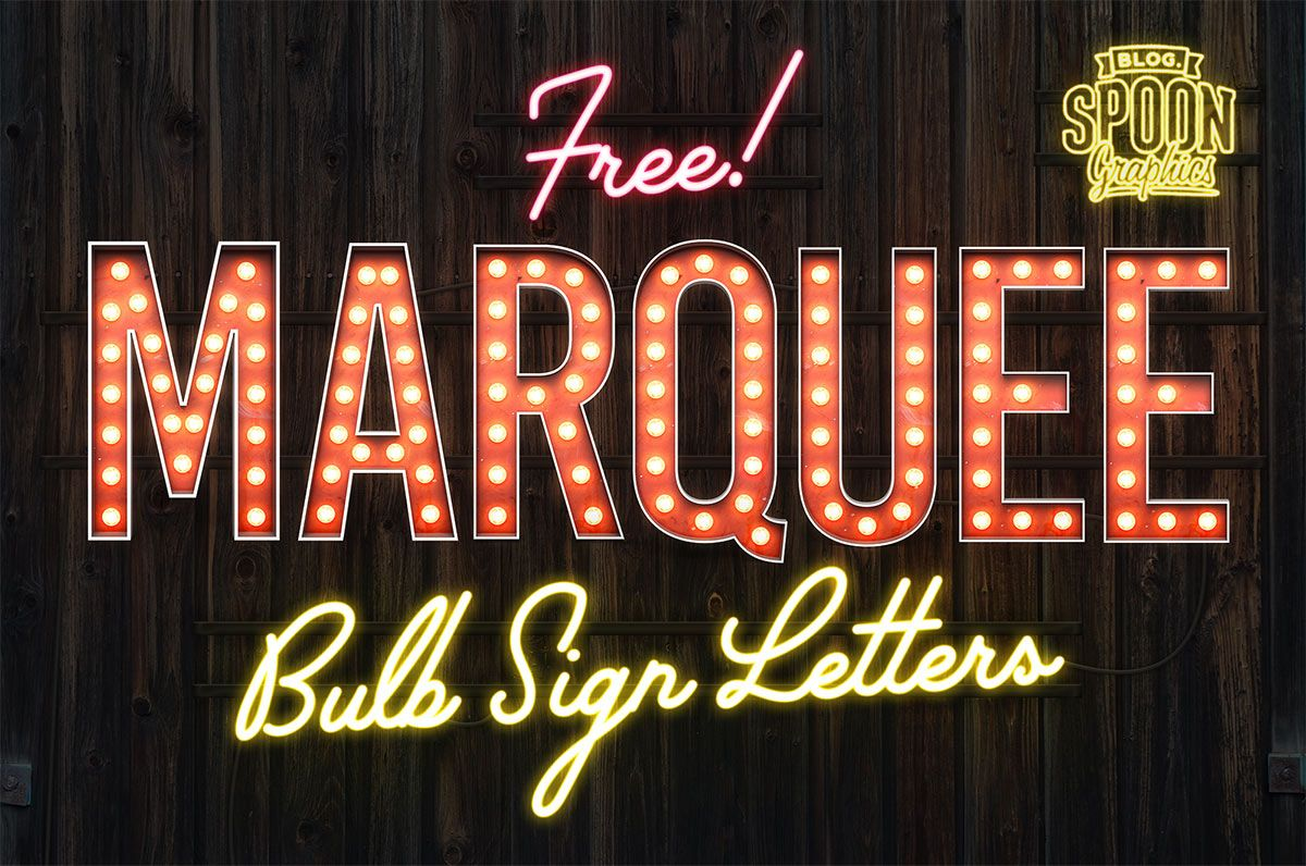 Free Pack Of Vintage Style Marquee Bulb Sign Letters Photoshop Photoshop Tutorial Photoshop For Photographers