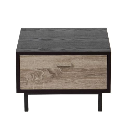 Chevet en bois gris et m tal 2 mod les new forest c t for Table de chevet asiatique