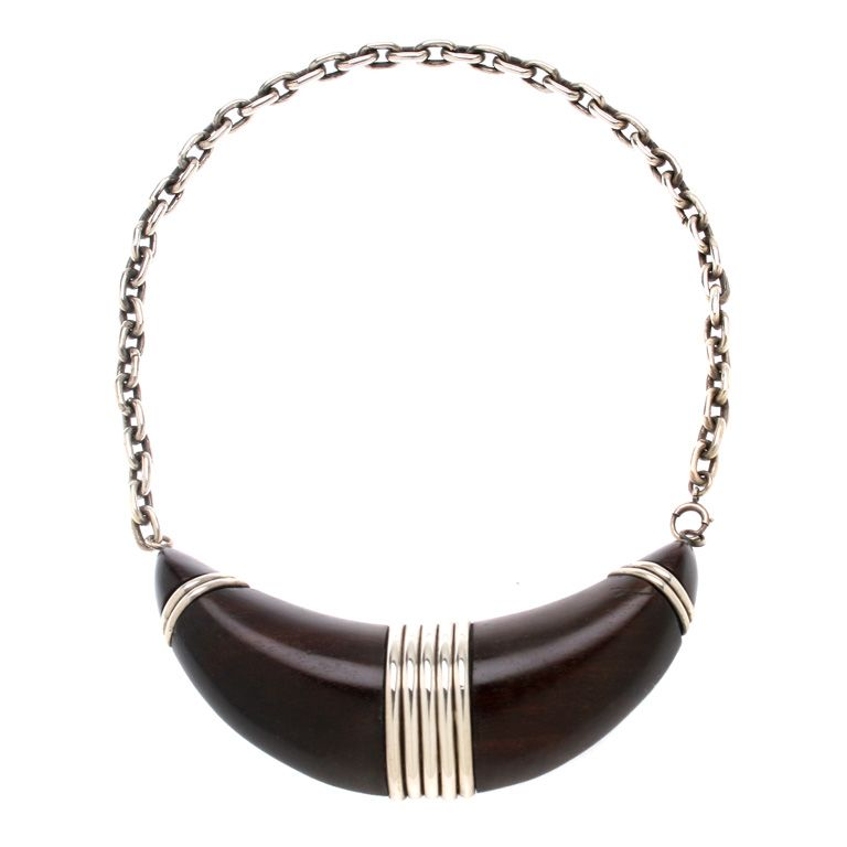 Necklace   William Spratling.  Rosewood and silver.  ca. 1940 - 46.