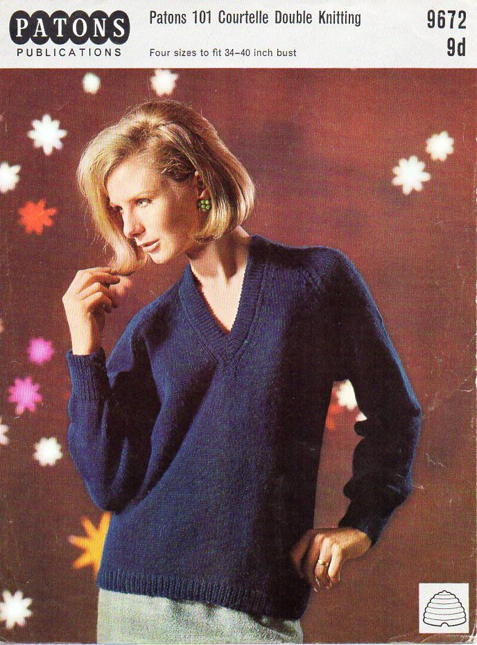Womens Sweater Knitting Pattern Pdf Dk Ladies V Neck Jumper Vintage