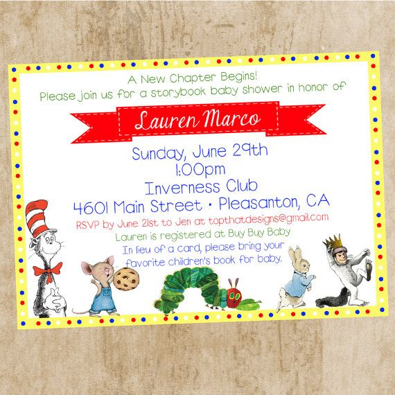 Children S Book Themed Baby Shower Invitation By