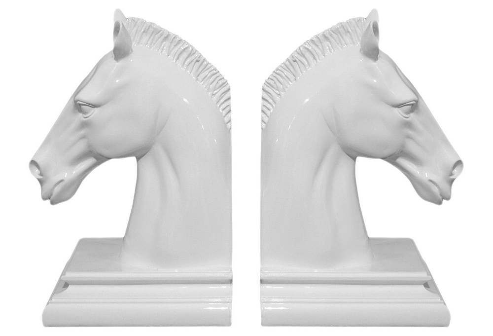 One Kings Lane - White & Bright - Pair of Horse Head Bookends