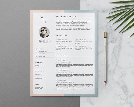 resume template   creative resume template for ms word   stylish cv template   3 page teacher