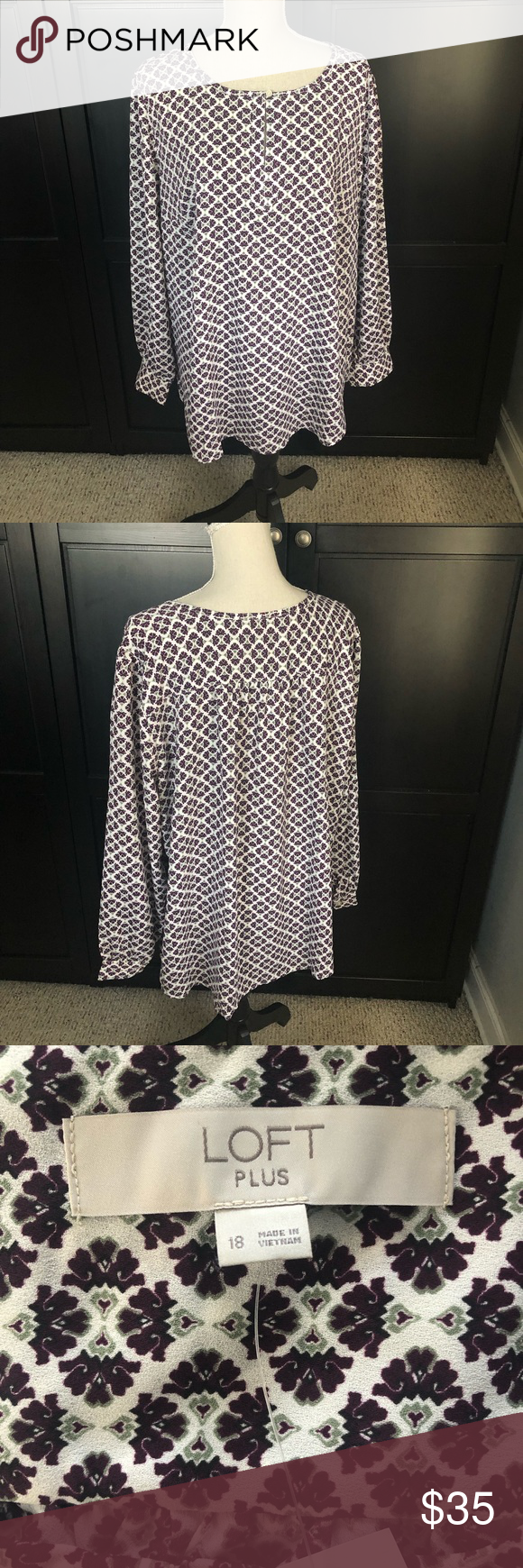 566c8c888c7 LOFT Wine Print Tunic Top NWT Beautiful top NWT LOFT Tops Tunics ...