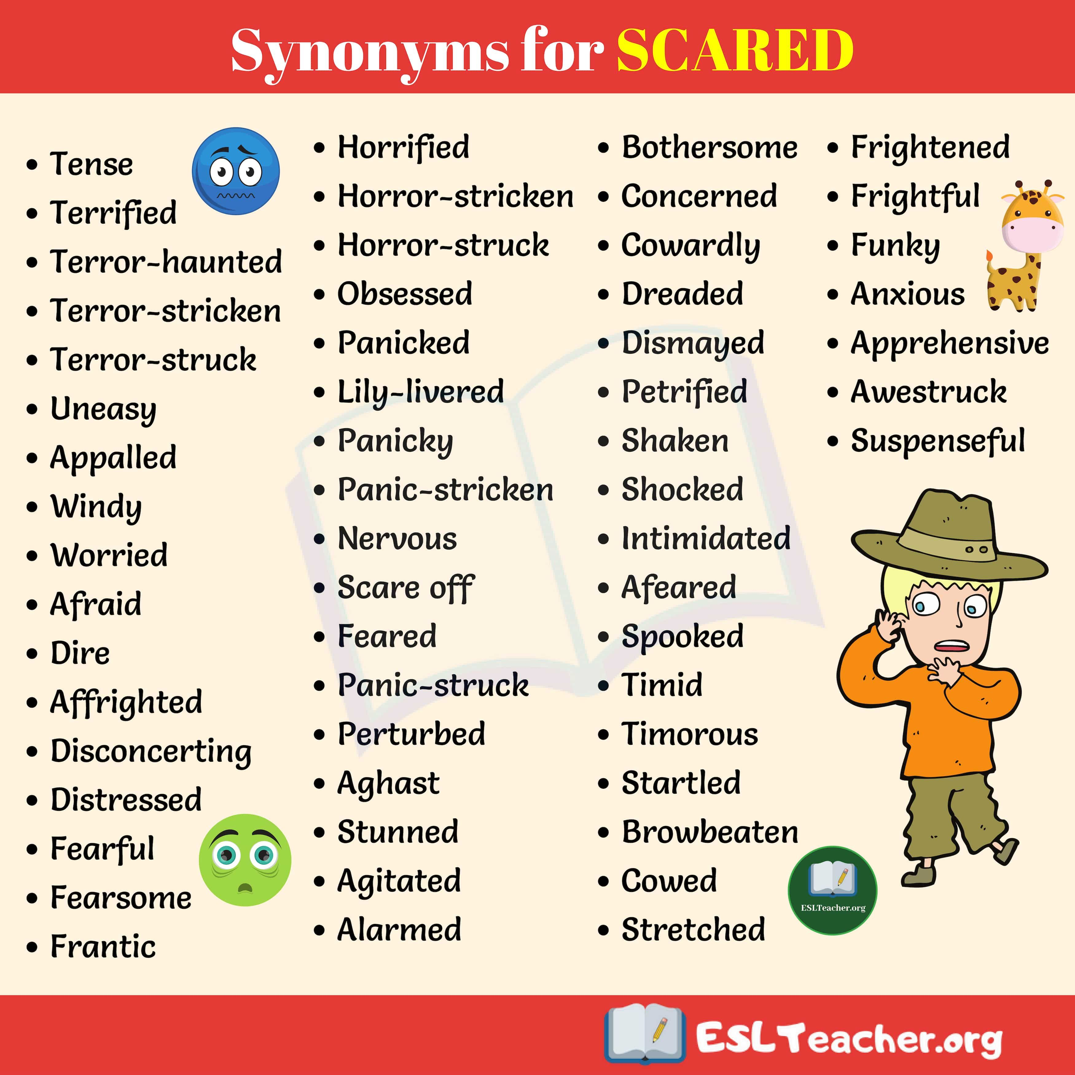 Synonyms for SCARED | Words for scared, Synonyms for scared, Learn english  words