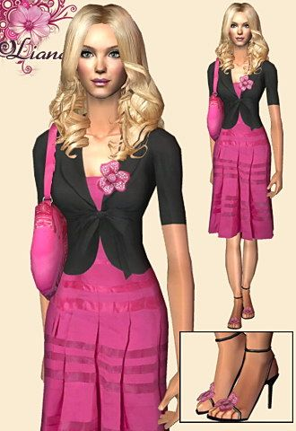 Pink dress featuring black short jacket and pink flower brooch.