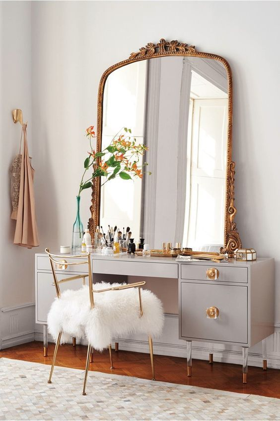 Furniture Grey Makeup Table And Large Mirror With Golden Frame Also White Fur Chair Ideas Cute Color Of Makeup Table Ideas Bedroom Vanity New Room Room Decor