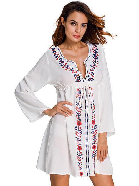 59eb022a63c2a Elegant V-neck Print Bohemia Mini Beach Dress in 2019 | clothes ...