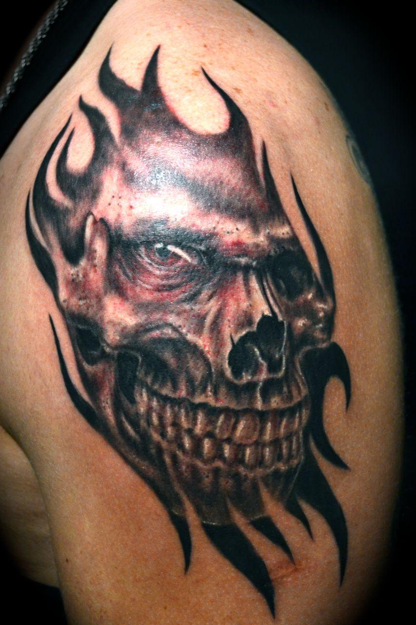 Evil Skull Tattoos : skull, tattoos, Pinterest