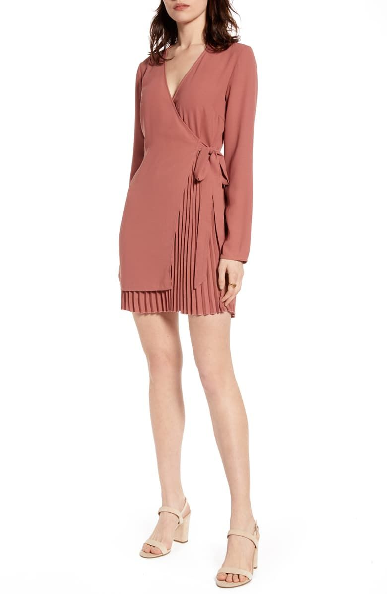 Na Kd Pleated Detail Long Sleeve Wrap Dress Nordstrom Long Sleeve Wrap Dress Fashion Clothes Women Wrap Dress [ 1196 x 780 Pixel ]