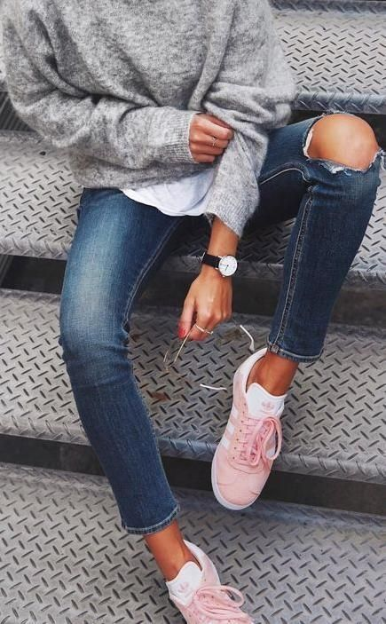 Pink Adidas Gazelles. Sneakers Style Ideas. | outfits