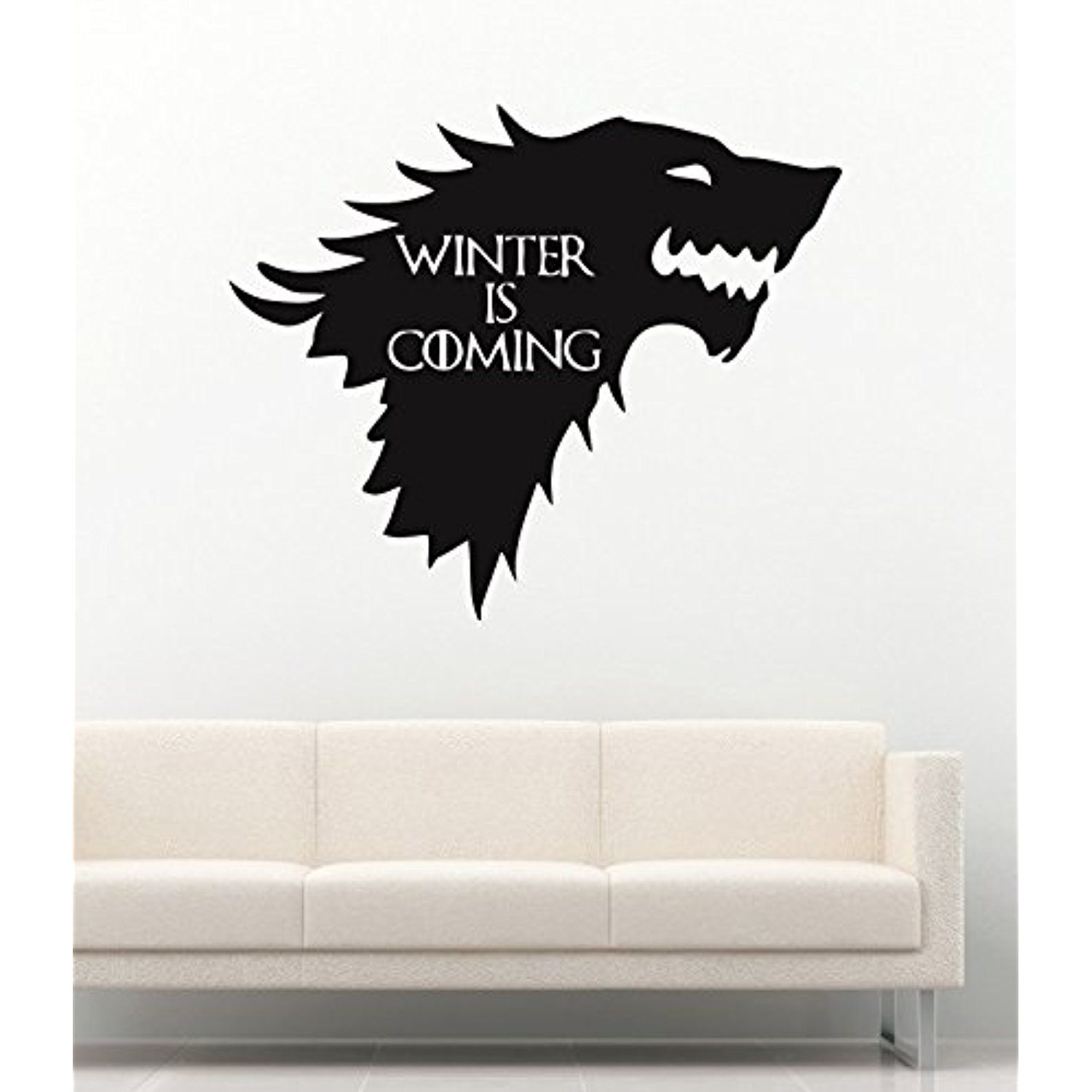 Wall decals movie film game of thrones winterfell logo winter is coming wolf stickers vinyl decor murals mk2100 for more information visit image link