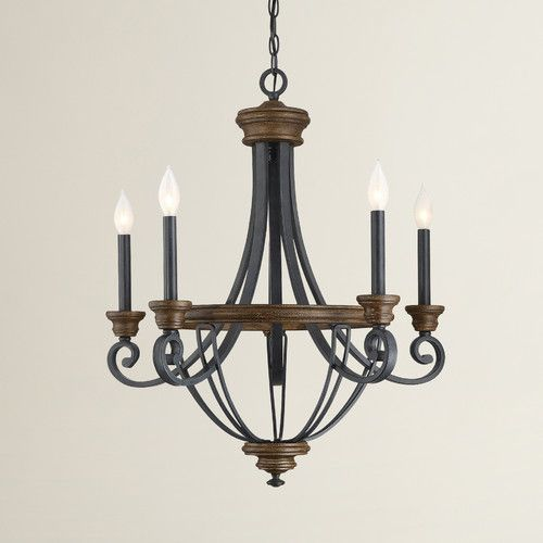 Retro Rustic 6 Light Sculpted Wood Rust Metal Clear Crystal Candle Style Chandelier