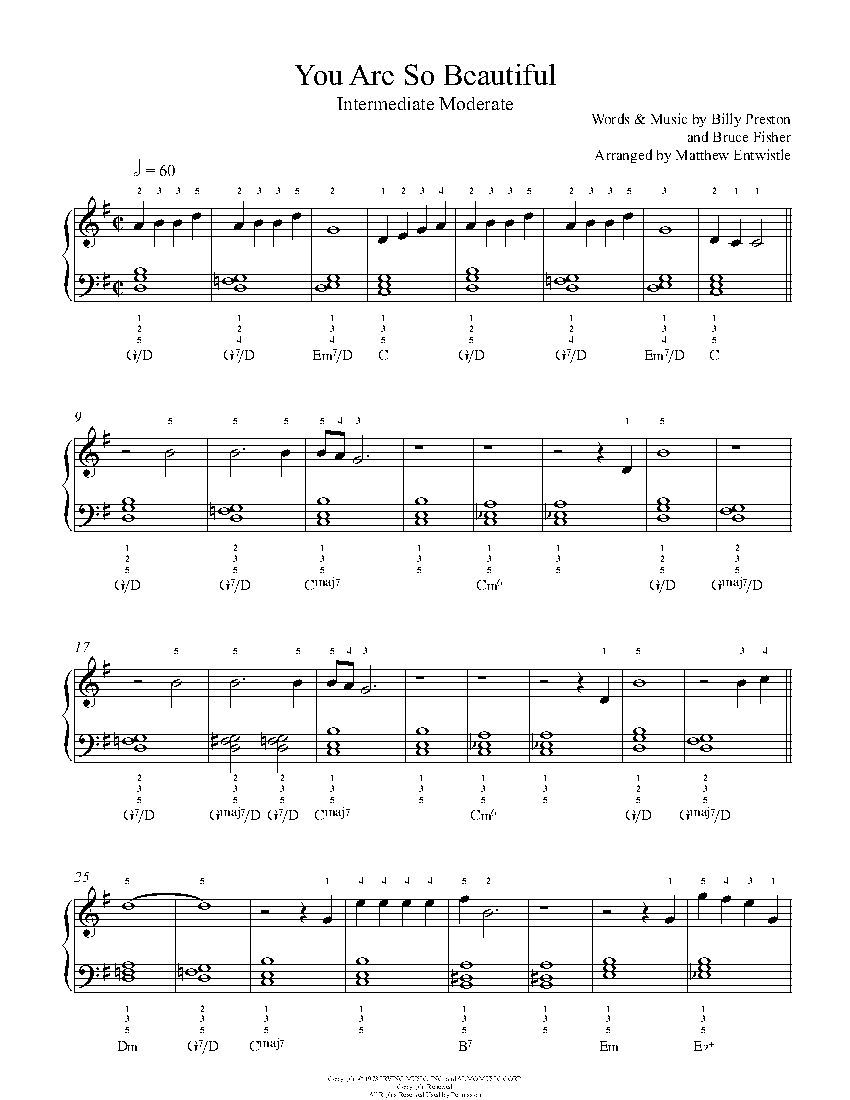 You Are So Beautiful By Joe Cocker Piano Sheet Music