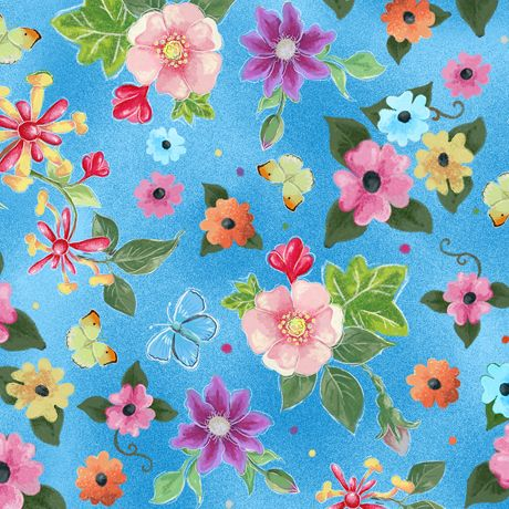 1649-24903-B - Blessed Flowers - Blue - 100% Cotton